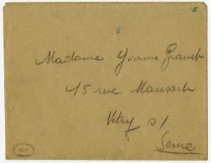 Enveloppe de la lettre de Raymond Granet à Yvonne, son épouse.