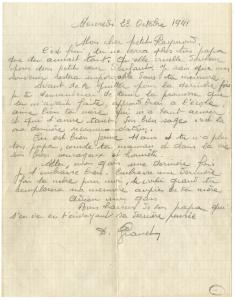 Lettre de Raymond Granet à Raymond, son fils.