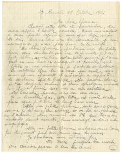 Lettre de Raymond Granet à Yvonne, son épouse.