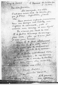 Copie de la dernière lettre de KHUONG HUYNH An (manuscrite).