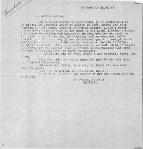 Tapuscrit. Dernière lettre d'Henri Pourchasse.