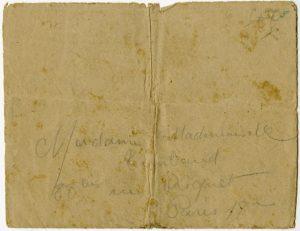 Enveloppe contenant la dernière lettre manuscrite de Jean-Pierre Timbaud