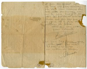 Dernière lettre manuscrite de Jean-Pierre Timbaud - Verso