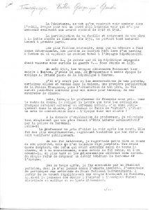 Tapuscrit du témoignage d'Esther Gaudin - Page 1 sur 4 (© MRN/fonds de l'Amicale Châteaubriant-Voves-Rouillé-Aincourt)