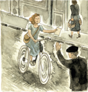 La jeune résistante distribue des tracts, à vélo/