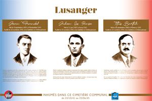 Plaque du cimetière du Lusanger (Loire-Inférieure, Loire-Atlantique) avec les portraits de Jean  GRANDEL, Julien LE PANSE et Titus BARTOLI