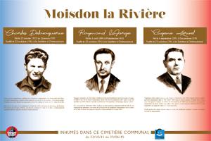 Plaque du cimetière du Moisdon-La-Rivière (Loire-Inférieure, Loire-Atlantique) avec les portraits de Charles DELAVAQUERIE, Raymond LAFORGE et Eugène  KÉRIVEL