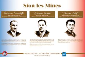 Plaque du cimetière du Sion-Les-Mines (Loire-Inférieure, Loire-Atlantique) avec les portraits de Maurice GARDETTE, Charles MICHELS et Claude LALET