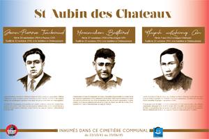 Plaque du cimetière du Saint-Aubin-Des-Châteaux (Loire-Inférieure, Loire-Atlantique) avec les portraits de Jean-Pierre TIMBAUD, Maximilien  BASTARD et An HUYNH KHUONG